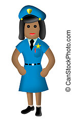 female police officer 3D style - Illustration of female...