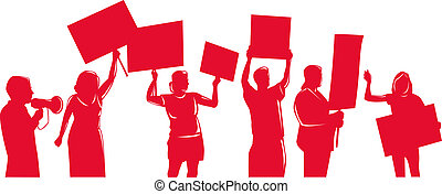 people protesting isolated on white - Illustration of red...