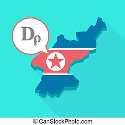 Long shadow North Korea map with a drachma currency sign -...