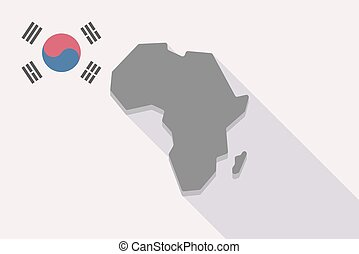 Long shadow South Korea flag with  a map of the african continent