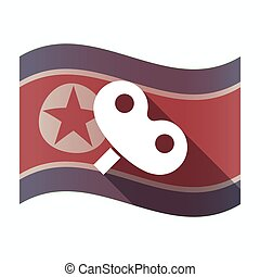Long shadow North Korea flag with a toy crank - Illustration...