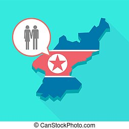 Long shadow North Korea map with a heterosexual couple...