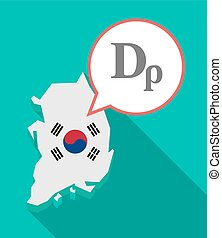 Long shadow South Korea map with a drachma currency sign -...