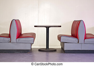 Retro Diner - Image of a Retro Diner with Empty Red Booths...