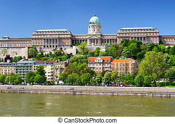 Buda castle from Chain bridge in Budapest, Hungary -...