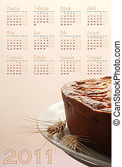 2011 food calendar with dessert - 2011 calendar with apple...