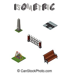 Isometric City Set Of Sitting, Seesaw, Crossroad And Other Vector Objects. Also Includes Road, Swing, Park Elements.