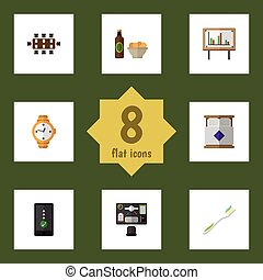 Flat Icon Life Set Of Cellphone, Boardroom, Whiteboard And Other Vector Objects. Also Includes Cellphone, Beer, Presentation Elements.