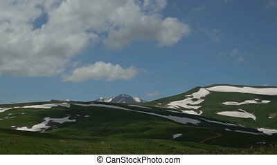 High mountain pastures under a blue sky with clouds....