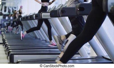 Legs of people running on the treadmill