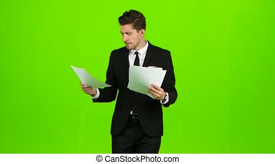 Manager goes to meetings and holds the documentation. Green...