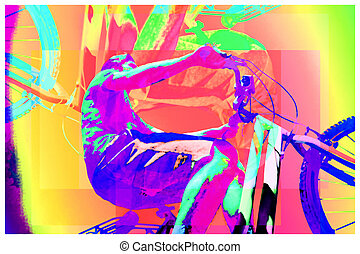young man on bicycle colorful background