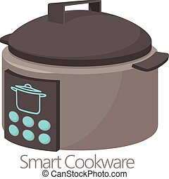 Smart cookware icon, cartoon style - Smart cookware icon....