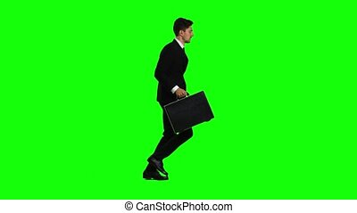 Man goes to work, understands that he is late and begins to...