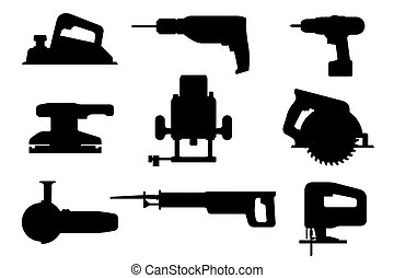Electric tools black silhouettes - Electric tools set....