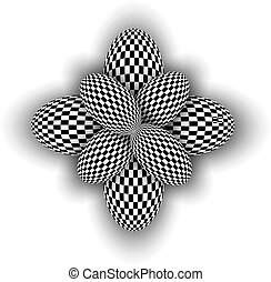 Abstract symbol 3d black and white