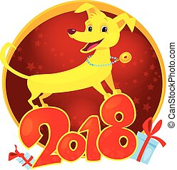 Yellow Dog is the Chinese zodiac symbol of the New Year 2018.