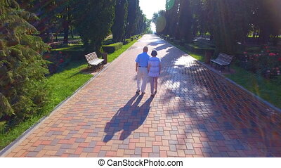 Aerial footage of senior couple walking outdoors - Aerial...