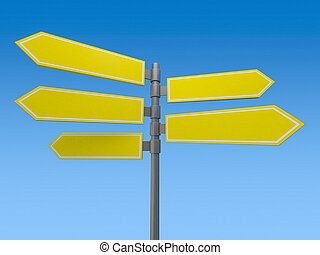 Blank signs pointing in opposite directions. 3D