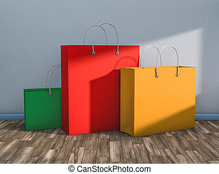 Empty Shopping Bag for advertising and branding. 3D...