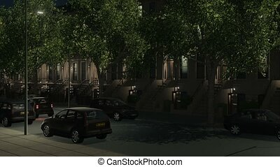 Night city street with brownstones and cars 4K - New York...