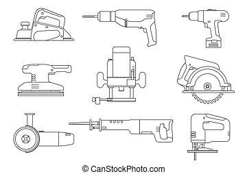 Electric tools line icons. - Electric tools line icons set....