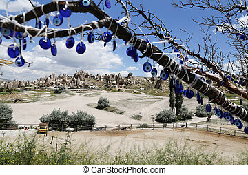 View of Cappadocia with Evil Eye Beads in Turkey