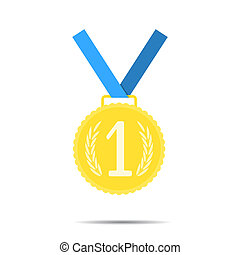 Golden medal, first place icon. Success and achievement,...