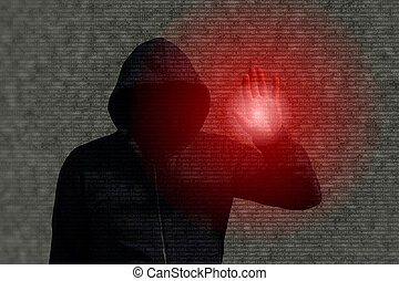 Hooded hacker infiltrating a computer program by touching a...