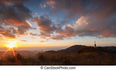 Beautiful Sunset and cloudy on Doi Lang Ka Noi high...