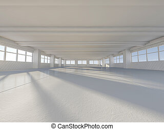 Sunny big open area with windows. 3D.