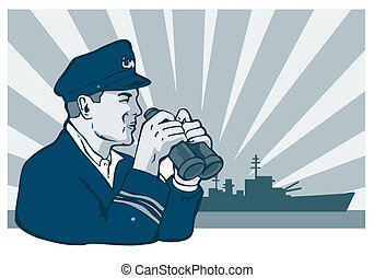 navy captain with binoculars - illustration of a navy...