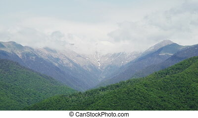 Beatiful Mountains with snow peaks summer time in Kvareli...
