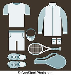 Top View Tennis Men's Gears Vector Illustration