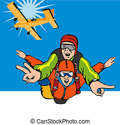 skydiving tandem - retro style illustration on skydiving...