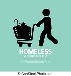 Homeless With Possessions Cart Symbol Vector Illustration