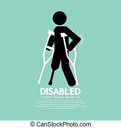 Disabled Person With Crutch Black Symbol Vector Illustration