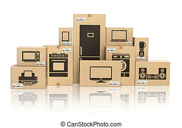 E-commerce, internet online shopping and delivery concept. Household kitchen appliances and home technics in boxes isolated on white.