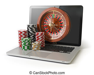Online roulette casino concept. Laptop with roulette and casino chips isolated on white  background.