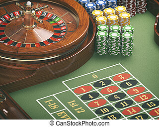 Gambling or casino background concept. Casino roulette wheel with casino chips on green table.