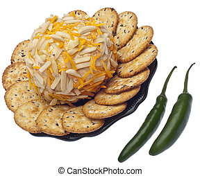 Savory Cheeseball Appetizer with Crackers and Jalapenos...