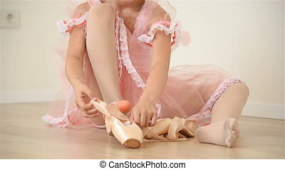 Ballerina Gathers Her Pointe - Little Ballerina Girl In Pink...