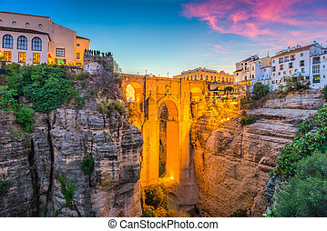 Ronda, Spain Old Town - Ronda, Spain at Puente Nuevo Bridge.