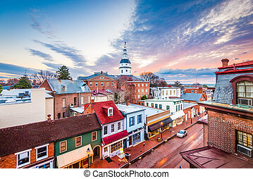 Annapolis, Maryland, USA downtown view over Main Street with...