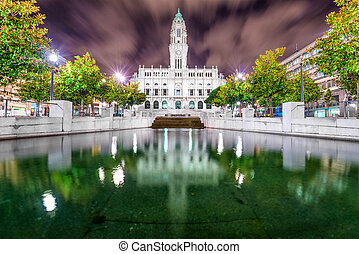 Porto, Portugal city hall at night.