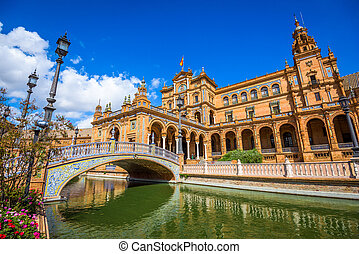 Plaza de Espana, Seville - Seville, Spain at Spanish Square...