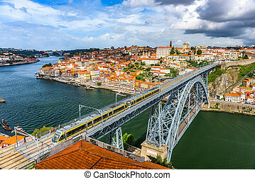 Porto, Portugal Skyline - Porto, Portugal skyline on the...