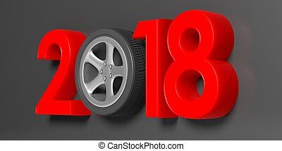 2018 with car's wheel on grey background. 3d illustration