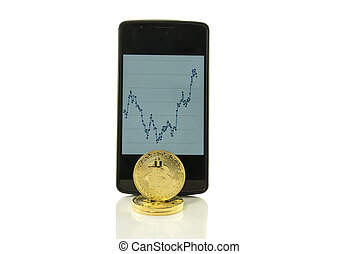 bitcoin with rising price trend graphic - bitcoin currency...