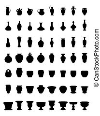 flower pots and pottery - Black silhouettes of flower pots...